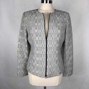 Lafayette 148 Grey Tweed Double Zip Jacket 12